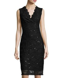 Neiman Marcus Sequined Lace Fitted Dress Black