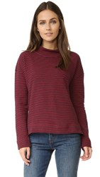 The Lady And The Sailor Mockneck Sweatshirt Red Stripe