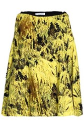Vionnet Embellished Printed Cotton Blend Top Yellow