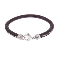Think Positive By Antonio Marsocci Brown Leather Bracelet With Sterling Sliver Chain