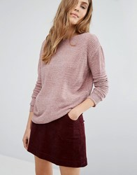 Pull And Bear Pullandbear Slouchy Jumper In Velour Pink