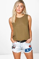 Boohoo Scoop Back Rib Vest Khaki