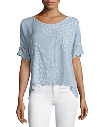 Johnny Was Sheree Short Sleeve Embroidered Top