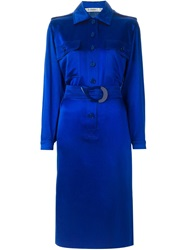 Jean Louis Scherrer Vintage Belted Shirt Dress Blue