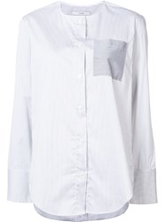 Tome Satin Striped Suplice Shirt White