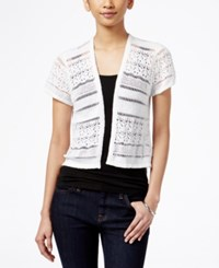 Styleandco. Style And Co. Short Sleeve Open Knit Cardigan Only At Macy's Bright White