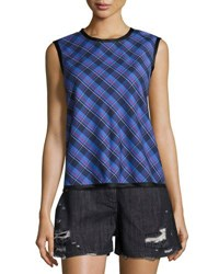 Public School Dalya Plaid Sleeveless Cotton Top Blue Pattern