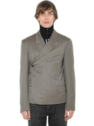 Martine Rose Short Wrapped Wool Blazer Brown