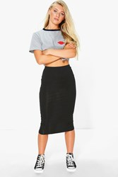 Boohoo Jersey Bodycon Midi Skirt Black