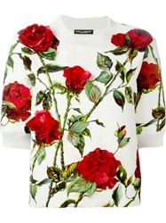 Dolce And Gabbana Rose Print Brocade Sweatshirt Nude And Neutrals