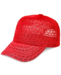 Inc International Concepts Crochet Packable Baseball Cap Only At Macy's Coral