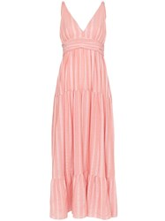 Lemlem Taytu Plunge Neck Striped Sundress Pink