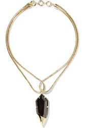 Noir Jewelry Luster Gold Tone Crystal Necklace One Size