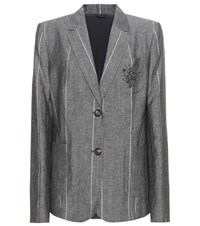 Brunello Cucinelli Embellished Striped Jacket Grey
