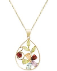 Victoria Townsend Multi Stone Gemstone Flower Necklace In 18K Gold Over Sterling Silver