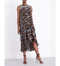 Peter Pilotto Graphic Print Silk Dress Black