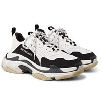 Balenciaga Triple S Mesh Nubuck And Leather Sneakers White