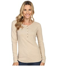 Royal Robbins Kick Back Henley Oatmeal Women's Long Sleeve Pullover Brown