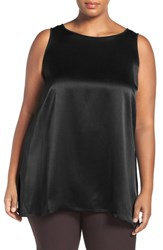 Eileen Fisher Plus Size Women's Bateau Neck Silk Crepe Tank