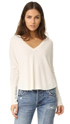Alice Olivia Bobbie Long Sleeve V Neck Sweater Off White