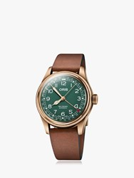 Oris 01 754 7741 3167 07 5 20 58Br 'S Big Crown Pointer Date 80Th Anniversary Leather Strap Watch Brown Green