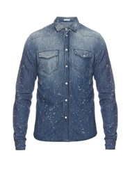 Tomas Maier Paint Splash Denim Shirt Navy Multi