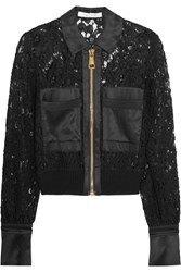 Alexis Walter Silk Satin Trimmed Cotton Blend Lace Jacket Black