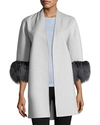 Neiman Marcus Luxury Cashmere Cocoon Jacket W Fox Fur Cuffs Platinum