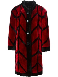 Christian Dior Vintage Shearling 'Patterned' Coat Red