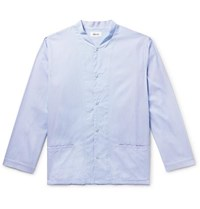 Chimala Grandad Collar Striped Cotton Shirt Blue