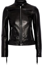 Red Valentino Lace Up Leather Jacket Black