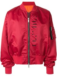 Unravel Project Explicit Content Bomber Jacket Red