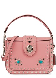 Coach New York Western Rivets Page Leather Cross Body Bag Pink
