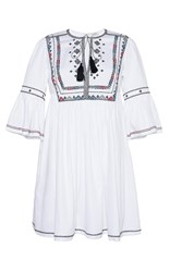 Talitha Diamond Embroidered Gypsy Dress Ivory