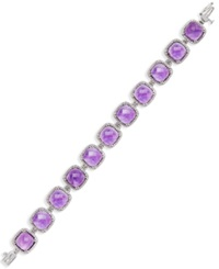 Macy's Amethyst 60 Ct. T.W. And Diamond 1 3 4 Ct. T.W. Tennis Bracelet In 14K White Gold Purple