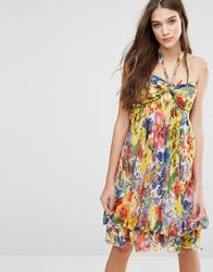 Pussycat London Dress With Halterneck In Floral Print Yellow