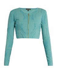 Sophie Theallet Atoll Technical Silk Blend Cropped Cardigan Blue