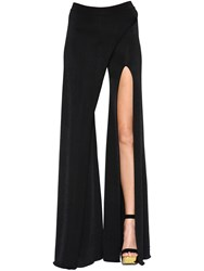 Balmain Flared Wrap Effect Viscose Knit Pants