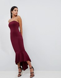 Ax Paris Bandeau Midiaxi Dress With Peplum Hem Purple