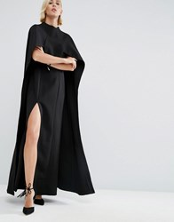 Asos White Maxi Dress With Cape Detail Black