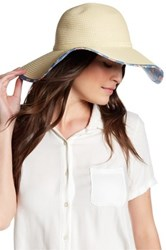David And Young Floral Underbrim Floppy Hat Beige