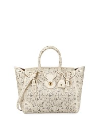 Ralph Lauren Soft Ricky 33 Lace Cut Leather Satchel Bag Cream Ivory Girl's