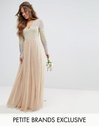 Maya Petite Long Sleeve V Neck Tulle Maxi Dress With Multi Colour Sequin Multi