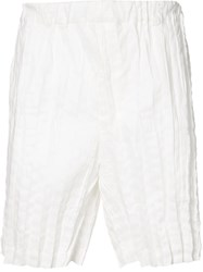 Issey Miyake Crinkle Effect Shorts Men Linen Flax Polyester 3 White