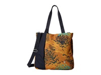 Haiku Journey Tote Amber Mum Toss Print Tote Handbags Brown