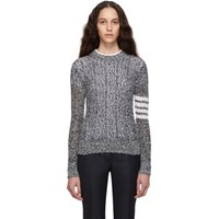 Thom Browne Navy And White Open Stitch 4 Bar Sweater