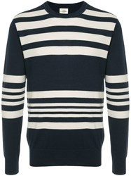 Kent And Curwen Striped Knitted Sweatshirt Blue