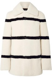 Saint Laurent Striped Shearling Coat Ivory