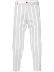 Maison Flaneur Striped Baggy Trousers Men Silk Cotton Viscose 48 Grey