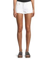 True Religion Keira Fray Denim Shorts White